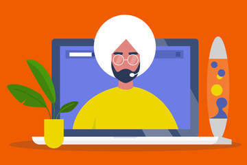 Online consultant. Operator wearing a headset. Video call. Modern technologies. Artificial intelligence. Chat bot. Young indian character on a laptop screen. Flat editable vector illustration, clipart