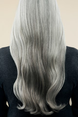 Rear view of woman with gray hair