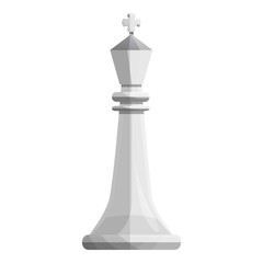 King white chess icon. Cartoon of king white chess vector icon for web design isolated on white background