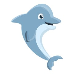 Playful dolphin icon. Cartoon of playful dolphin vector icon for web design isolated on white background