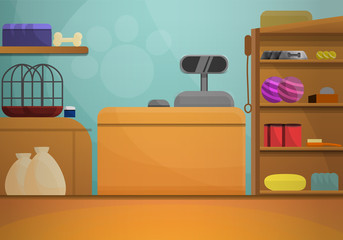 Pet shop concept banner. Cartoon illustration of pet shop vector concept banner for web design