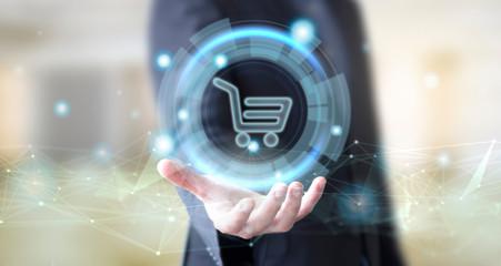 businessman with digital shop online
