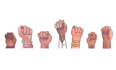 Women raising arms with clenched fists. Illustration painted in watercolor on clean white background