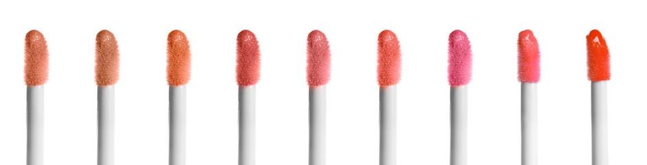 Set of liquid lipstick applicators on white background Wall mural