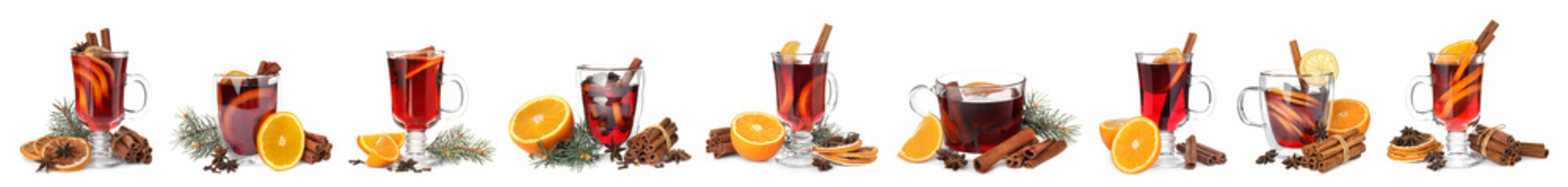 Set of traditional Christmas mulled wine in different glasses on white background