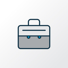 Suitcase icon colored line symbol. Premium quality isolated briefcase element in trendy style.