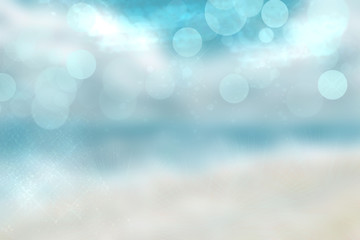 Abstract beach background. Abstract bright tropical sand beach with blue sky and white clouds and waves. Backdrop for summer holidays and travel advertising.