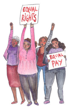 Protesting black women. People demanding equal rights and equal pay. Illustration painted in watercolor on clean white background