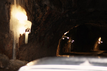 a dangerous mountain tunnel,very important to the local population, the only connection between the city and the mountain villages.-Image