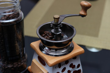 Foto op Textielframe Cafe Coffee grinder and beans