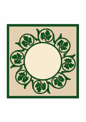 Rectangle with floral circle