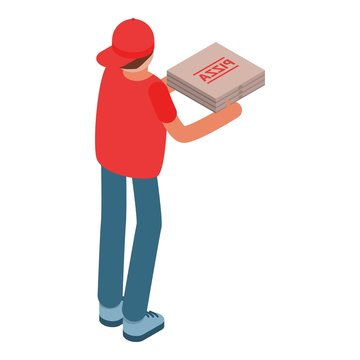 Man delivery give pizza box icon. Isometric of man delivery give pizza box vector icon for web design isolated on white background