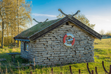 Picture of traditional scandinavian fisherman house from stone