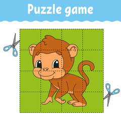 Puzzle game for kids education. Education developing worksheet. Game for kids. Activity page. Puzzle for children. Riddle for preschool. Simple flat isolated vector illustration in cute cartoon style.