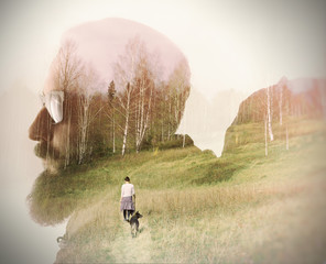 Double exposure with bearded traveler, forest and friends. Metaphor of travel and camping.