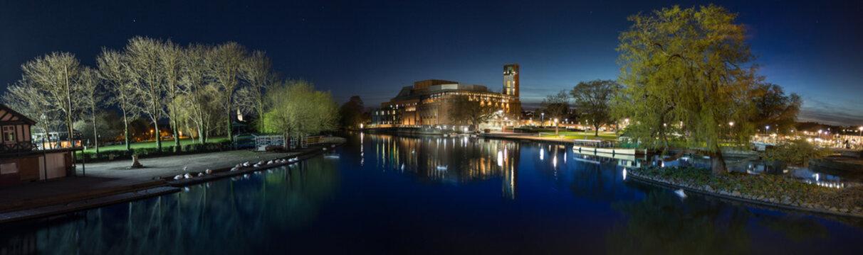 RSC Stratford upon Avon at night