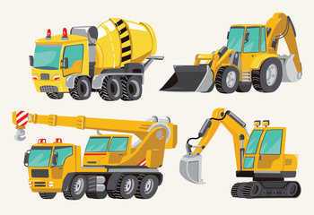 Set of Toy Construction Equipment in Yellow. Special Machines for the Building Work. Forklifts, Cranes, Excavators, Tractors, trucks, concrete mixer, trailer. Vector illustration