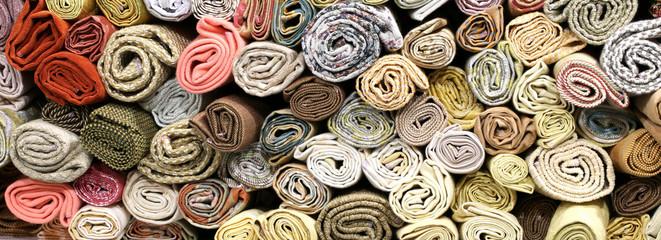 Aluminium Prints Fabric rolls of fabrics on the shelves