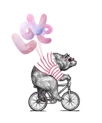 Cool Bear wearing sunglassess Ride Bicycle Balloons Love. Vintage Mascot Cute Fun Grizzly Cycle Valentines day Card. Animal Character Black Sketch. Outline Grunge Teddy Flat Vector Illustration.