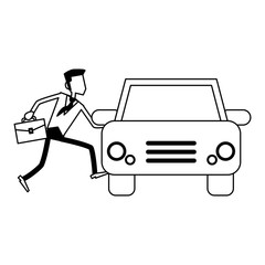 businessman with briefcase taking car black and white
