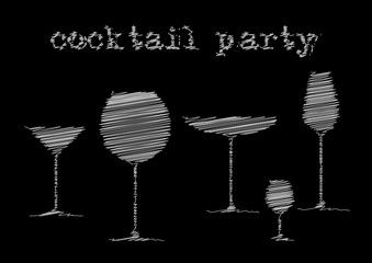 cocktail party. white stylized pencil shading. abstract drink background alcohol wine glasses