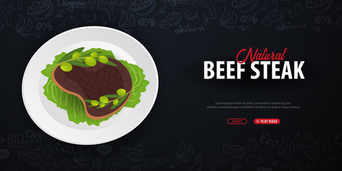 Natural Beef Steak. Meat Dish. Banner with hand-draw doodle elements on the background. Vector illustration