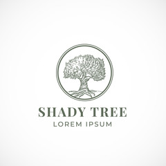 Shady Tree Abstract Vector Sign, Symbol or Logo Template. Hand Drawn Tree Sketch Sillhouette in a Circle with Retro Typography. Vintage Emblem.