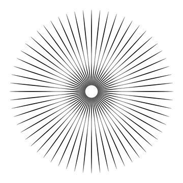 Rays, beams element. Sunburst, starburst shape on white. Radiating, radial, merging lines. Abstract circular geometric shape