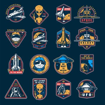 VIntage space colorful emblems set