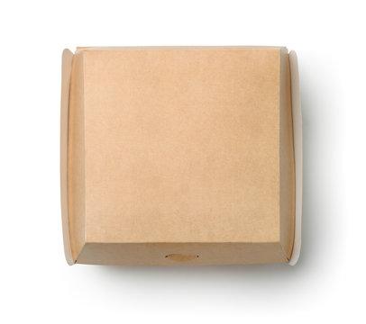 Top view of closed blank burger box