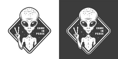 Vintage monochrome space label