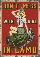 Retro military colorful poster