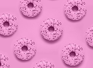 Abstract photo of pink donuts.