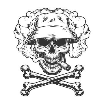 Skull in panama hat smoking cigar