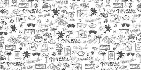 Travel hand-draw doodle backround. Tourism and summer sketch with travelling elements. Vector illustration Fotomurales