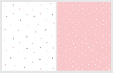 Lovely Hand Drawn Irregular Hearts Patterns. Pink and Gray Hearts on a White Background. Gray and White Ones on a Pink. Infantile Style Abstract Art. Cute Repeatable Design. Delicate Nursery Layouts.