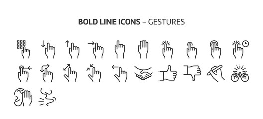 Gestures, bold line icons. The illustrations are a vector, editable stroke, 48x48 pixel perfect files. Crafted with precision and eye for quality.