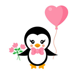 cartoon cute penguin with tie and lovely balloon and flowers