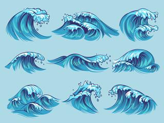Hand drawn ocean waves. Sketch sea tidal blue waves tide splash hand drawn surfing storm wavy water doodle vintage set Wall mural