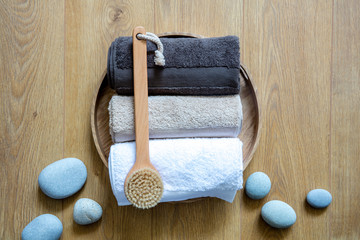 concept of fresh exfoliation, clean wellness and male Turkish bath