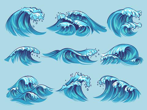 Hand drawn ocean waves. Sketch sea tidal blue waves tide splash hand drawn surfing storm wavy water doodle vintage set
