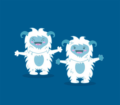 Modern flat design concept of angry snowman monster, white bigfoot, yeti, sasquatch for website. Blue background. Vector illustration.