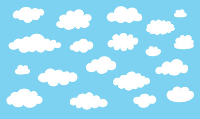 Collection cloud icons. White clouds isolated on blue color background.