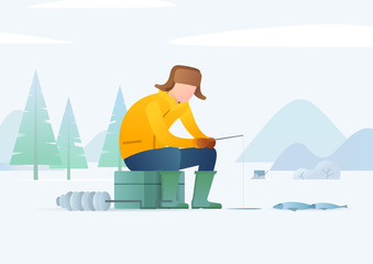 Ice fishing. Man fishing on a frozen river or lake in winter clothing. Winter landscape. Modern style vector illustration for landing page, website, banners and presentation.