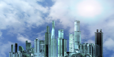 3D Illustration of a layout of the city of the future 3d render