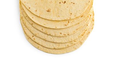 Tortilla on a white background. Several mexican tortilla on a white background.