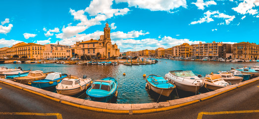 giant panorama in 180 degree at sete, france with beautiful river, hundrets of boats and church building