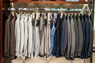 clothes on hanger in store