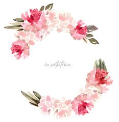 watercolor flowers wreath, frame, spring flowers