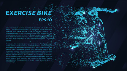 Exercise bike. A grid of blue stars in the night sky. Glowing dots create the shape of an exercise bike. Sports, fitness, health and other concepts illustration or background. Wall mural